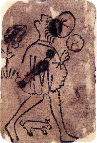 Playing card - Knave of Coins from the oldest known European deck (c.1390–1410).