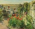 Knud Erik Larsen - Blomstrende haveeksteriør med tre kvinder ved et bord.jpg