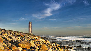 Kommetjie - Slangkop Lighthouse whilst being restored, near Kommetjie.