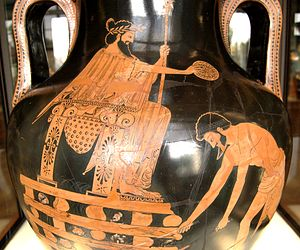 Croesus and Fate - Croesus on the pyre, Attic red-figure amphora, 500–490 BC, Louvre (G 197)