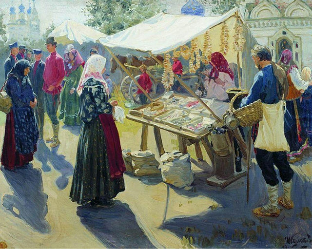Kulikov Bazaar with bagels 1910
