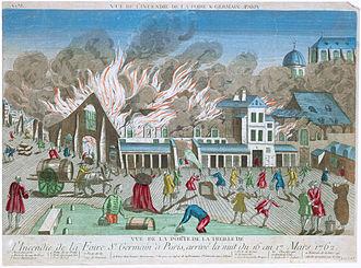 Théâtre de la foire - A fire which destroyed the Foire Saint-Germain on the night of 16/17 March 1762