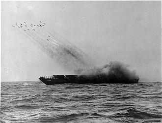 Landing Craft Tank (Rocket) - LCT(R), T125 launching a rocket salvo (1943)