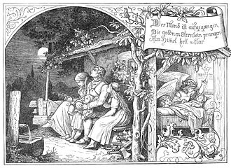 """Der Mond ist aufgegangen - """"Der Mond ist aufgegangen"""", illustration by Ludwig Richter (1856)"""
