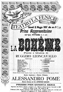 <i>La bohème</i> (Leoncavallo) opera by Ruggero Leoncavallo