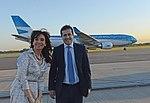 La presidenta Cristina Fernández recorre el nuevo Airbus A330-200 de Aerolíneas Argentinas, junto al titular de la compañía, Mariano Recalde 3.jpg