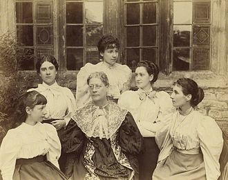 Dorothy Bussy - Graystone Bird (1862-1943), albumen print/NPG x13111. Lady Strachey and daughters, ca. 1893 (Dorothy is 2nd from left)