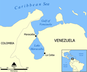 Gulf of Venezuela - Location of the Gulf of Venezuela.