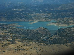 New Exchequer Dam - New Exchequer Dam and Lake McClure viewed from the air