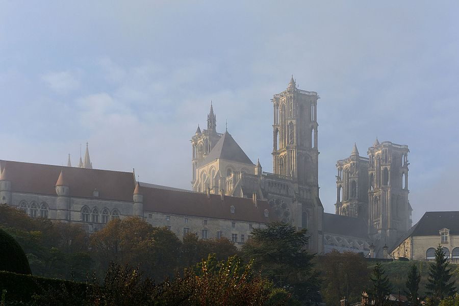 Northwest view on a foggy autumn morning of Laon Cathedral Notre-Dame, Picardy, Frace
