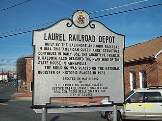 Laurel station (MARC) - Image: Laurel Station Plaque Dec 08
