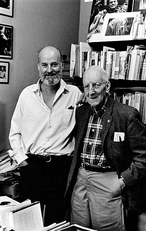 Lawrence Ferlinghetti - Lawrence Ferlinghetti at the Grolier Poetry Bookshop in Harvard Square in 1965 with Gordon Cairnie, the owner of the store at the time, photograph by Elsa Dorfman