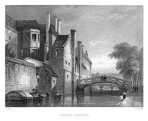 LeKeux - Cambridge, c1840 - Queens 03, Mathematical Bridge - memorialsofcambr01wriguoft 0406.jpg