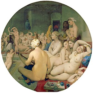 Figurative art - Jean Auguste Dominique Ingres, Le Bain Turc (The Turkish bath), 1862, oil on canvas, 108 × 110 cm, Louvre, Paris