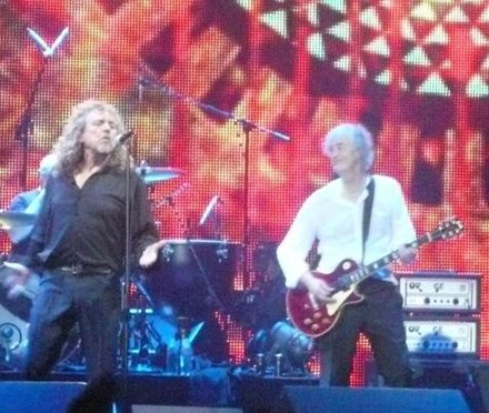 Plant on stage with Jimmy Page in 2007. Led Zeppelin by p a h (cropped).jpg