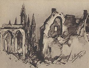 Léon Huygens - Sketch of Nieuwpoort during the First World War.