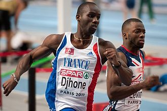 Leslie Djhone - Djhone (left) at the 2011 European Athletics Indoor Championships