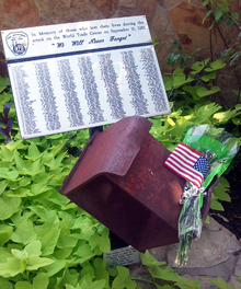 A box beam from the World Trade Center South Tower on display at the Lewisville Fire Department offices as a memorial to the service members who died as a result of the September 11 attacks
