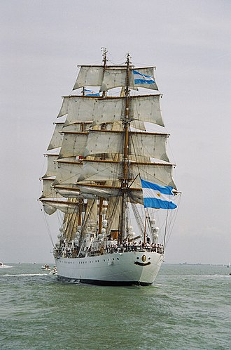 ARA Libertad (Q-2) - Libertad in 2003 sailing away with furled lower sails