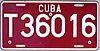 License plate of Cuba 2002 tourism T 36016.jpg