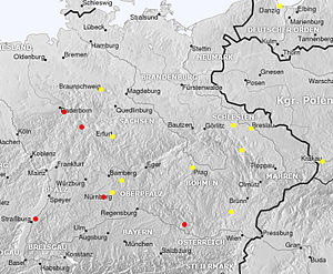 Johannes Liechtenauer - Candidate locations called Lichtenau (in red) and places of origin of members of the Society of Liechtenauer (in yellow) in 14th-century Central Europe (following Massmann 1844).