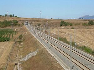 Rome–Naples high-speed railway - A straight section line of the line near Anagni