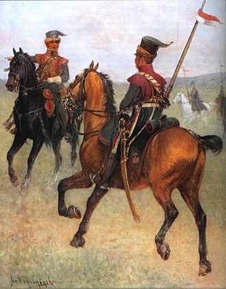 Lipka Tatars - Lithuanian Tartars in the Napoleonic Army with Red and White banners of Polish–Lithuanian Commonwealth