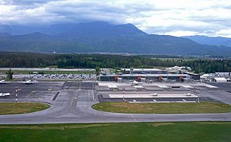 The Ljubljana Joze Pucnik Airport is the biggest international airport in the country Ljubljana airport 2017.jpg