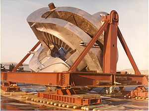 Mirror Fusion Test Facility - One of the two yin-yang mirrors arrives at LLNL. The plasma was confined in the small area between the two magnets.