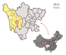 Location of Yajiang within Sichuan (China).png