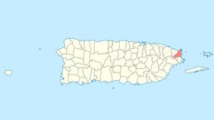 Location of Fajardo in Puerto Rico