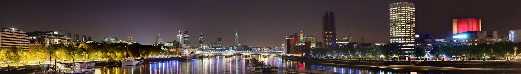 Night-time view from Hungerford Bridge