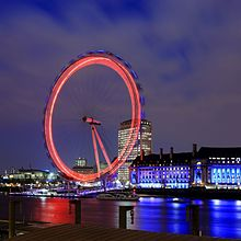 Le London Eye la nuit