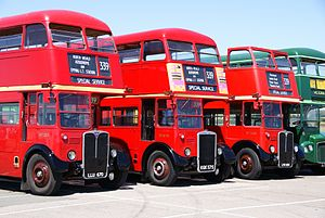 London bus lineup, RT3871 (LLU 670), RTW75 (KGK 575) & RT3455 (LYR 854), 2010 North Weald bus rally.jpg