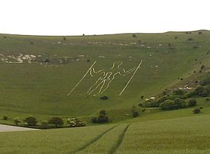 Long Man of Wilmington - The vandalised Long Man during summer solstice 2010