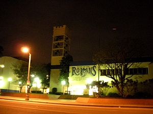Olympic Boulevard (Los Angeles) - Los Angeles High School at night