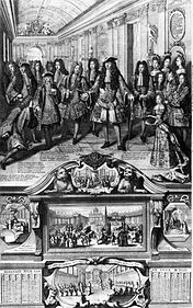 Louis XIV declares his grandson Philippe d'Anjou as the new King of Spain at Versailles