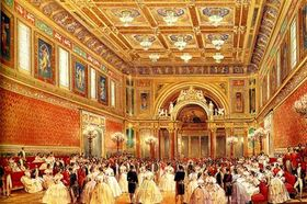 "lithograph by Louis Haghe, ""The New Ballroom"" (at Buckingham Palace)"