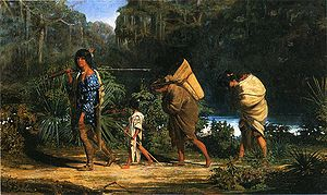 Choctaw - Louisiana Indians Walking Along a Bayou Alfred Boisseau – 1847
