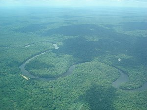 Lukenie River - Aerial view of the Lukenie River as it meanders through the Central Congolian lowland forests of the DRC.