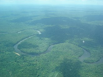 Central Congolian lowland forests - Aerial view of the Lukenie River as it meanders through the Central Congolese lowland forests of the DRC.