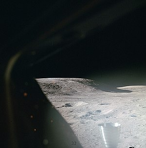 Moon landing - The lunar surface through a Lunar Module window shortly after landing