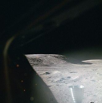Moon landing - The lunar surface through a Lunar Module window shortly after landing