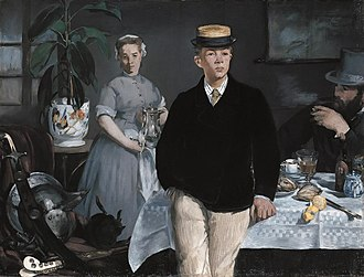 Luncheon in the Studio - Édouard Manet, Luncheon in the Studio (1868). Oil on canvas; 118 × 154 cm. Neue Pinakothek, Munich