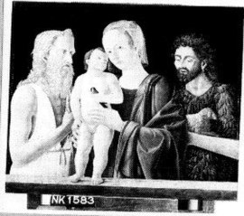 Madonna en kind met de Heilige Johannes de Doper en de Heilige Hieronymus