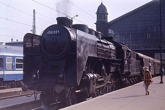 Hungarian State Railways - 4-8-0 locomotive at Budapest Western Station, 1972.