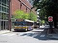 MBTA buses laying over at University Park, July 2015.JPG