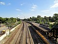 MBTA train and Lowell station platform from pedestrian bridge, August 2012.JPG