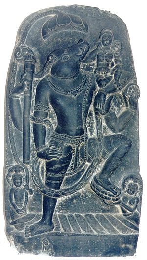 Varaha - Varaha stands on Nagas, rises from the waters with the earth (Bhudevi) on his elbow, National Museum, New Delhi.