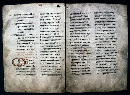 An 8th-century copy of the Rule of Saint Benedict MS. Hatton 48 fol. 6v-7r.jpg